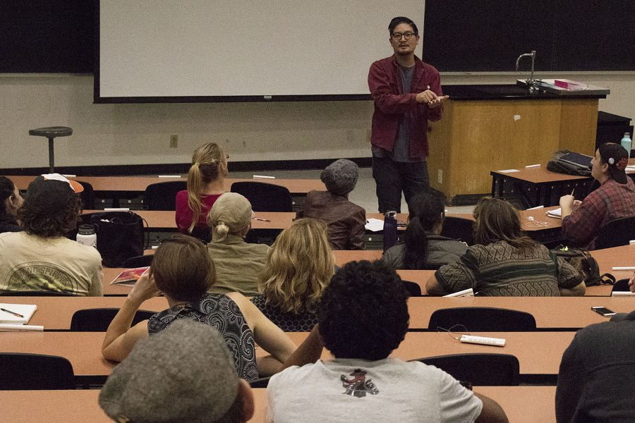 Artist Devon Tsuno describes his techniques to students during the question and answer segment of his lecture on Thursday, Oct. 13, in Physical Sciences Building at City College. Tsuno's artwork is being featured in the Atkinson Gallery at the college for the rest of the fall semester.