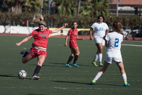 Vaquero forward Kathryn Sullivan (No. 18) kicks the ball past Bulldog defender Lacei Sanders (No. 2) to score the fourth goal on Tuesday, Oct. 11, at La Playa Stadium. City College shut out Allan Hancock, 5-0, in their Western State Division opener.