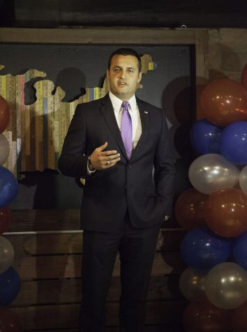 Justin Fareed, the Republican congressional candidate for the 24th district, spoke during the 2016 Republican election party on Tuesday, Nov. 8, at the Benchmark Eatery in downtown Santa Barbara.