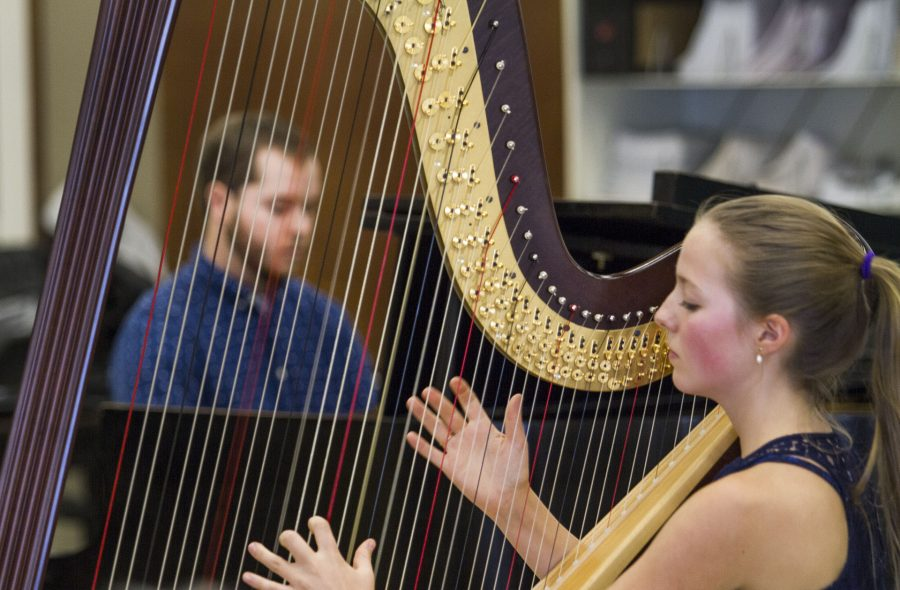 Harpist+Ginger+Brucker+and+Pianist%2C+Wyatt+Dale+perform+%27Triplets%27+on+Friday+afternoon%2C+Nov.+4%2C+at+the+City+College+Music+Salon.+%27Triplets%27+is+an+original+student+composition+written+by+Music+Student%2C+Amin+Sarrafi+%28not+pictured%29+and+Brucker.