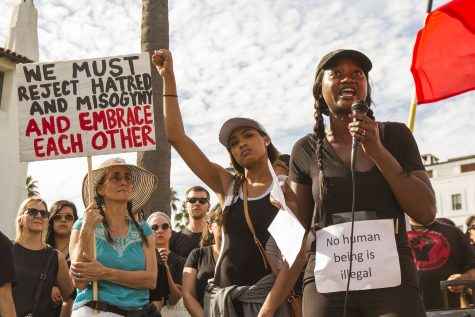 Akilah Simone Baker, a speaker from the Black Lives Matter movement, gives a speech during the united against hate march against Donald Trump, on Saturday, Nov. 12, at De La Guerra Plaza in Santa Barbara. The press release about the event said,