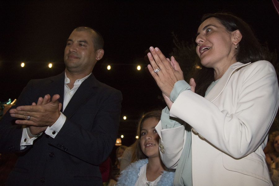 State Assembly Members Das Willams and Monique Limòn cheer with hope for Hillary's election at the Democrat election party on Tuesday, Nov. 8, at The Mill Restaurant and Brewery in Santa Barbara.