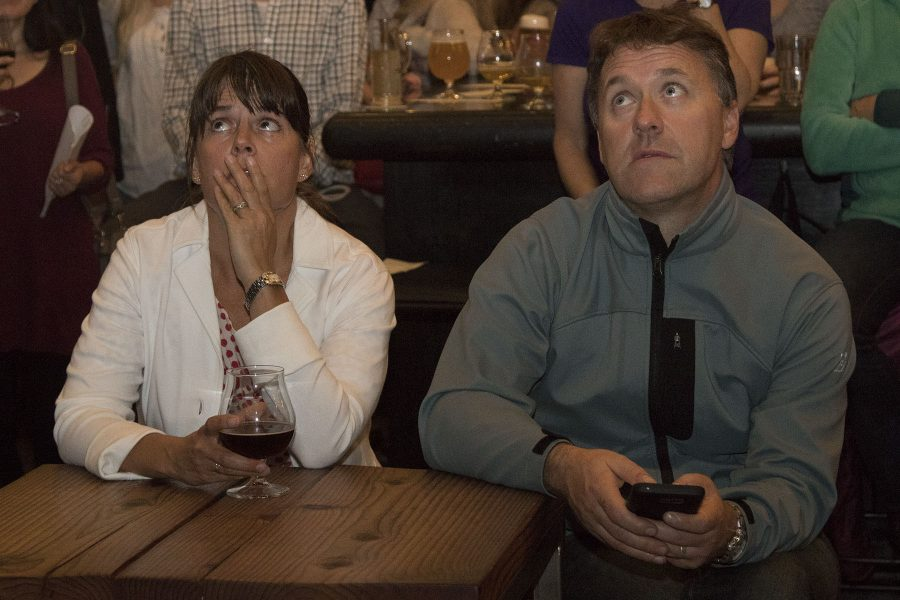 "Stephanie Linder and Eamon O'Byrne watch election results on Tuesday, Nov. 8, at The Mill Restaurant and Brewery in Santa Barbara. ""If this continues, we will probably be moving back to Ireland,"" said Linder."