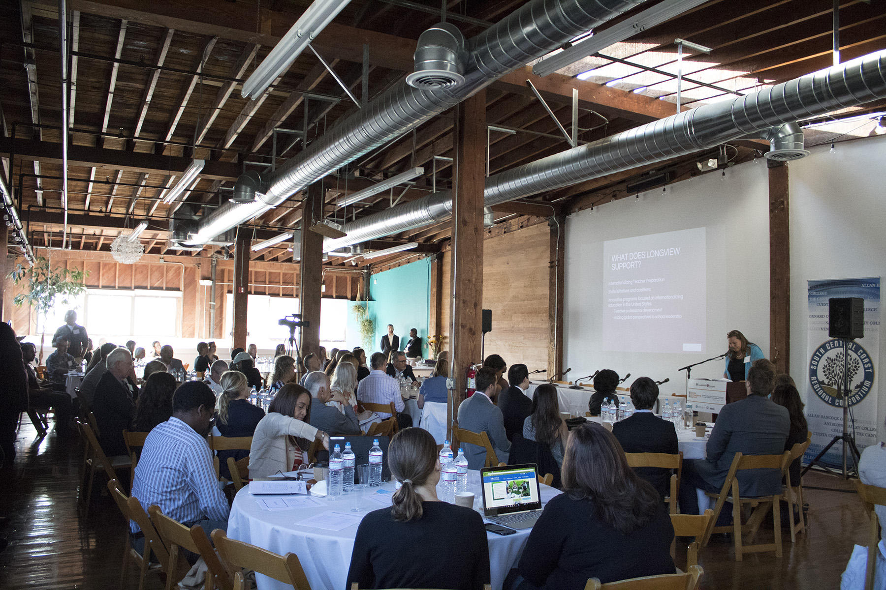 A group of teachers, counselors, and students from across the region gather to discuss the understanding and appreciation of international issues at the Global Competence Summit on Friday, Nov. 4, at Narrative Loft in Santa Barbara. The event included a keynote speaker, a series of panel discussions and an innovation lab.