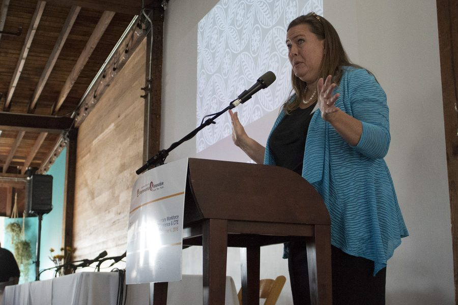 Keynote speaker Jennifer Manise, executive director of the Longview Foundation for World Affairs and International Understanding, shares her understanding of global competence at the Global Competence Summit on Friday, Nov. 4, at Narrative Loft in Santa Barbara. The event was hosted by the Santa Barbara City College Scheinfeld Center.