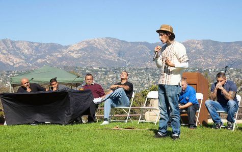 "Richard Cabral talks about his life experience during City College's Student Equity Committee first event, ""Putting inequity to rest,"" on Nov. 2, on the Winslow Maxwell Overlook on East Campus. Cabral is one of the members of Homeboy Industries, where former gang members help each other to a better life."