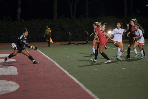 Vaqueros forward Josefine Von Der Burg (No. 12) scores the first of her two goals against the Owls in the So Cal Reginal playoff game on Thursday, Nov. 17, at La Playa Stadium. City College shut out Citrus College, 4-0.