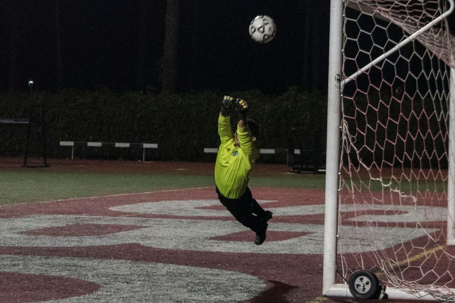 Condor goalkeeper Matthew Escareno (No. 0) makes a diving save against the Vaqueros on Tuesday, Nov. 1, at La Playa Stadium. City College remains in second place after losing, 2-0, to division leading Oxnard College.