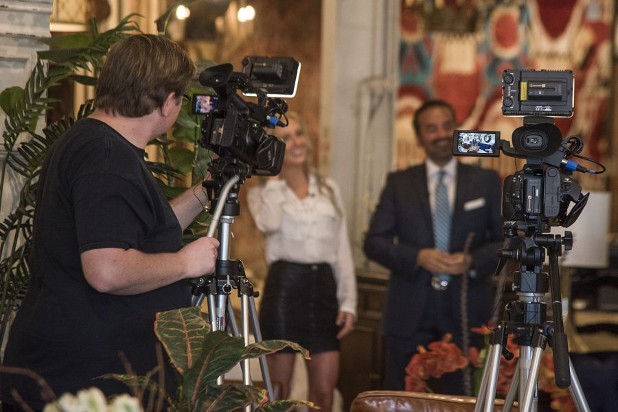 Michael Kourash, owner of Santa Barbara Design Center, gets interviewed during a taping of 'Design Santa Barbara' on Friday, Nov. 4, in Santa Barbara. City College interior design students assist Kourash during the taping of the show to utilize skills they are learning.