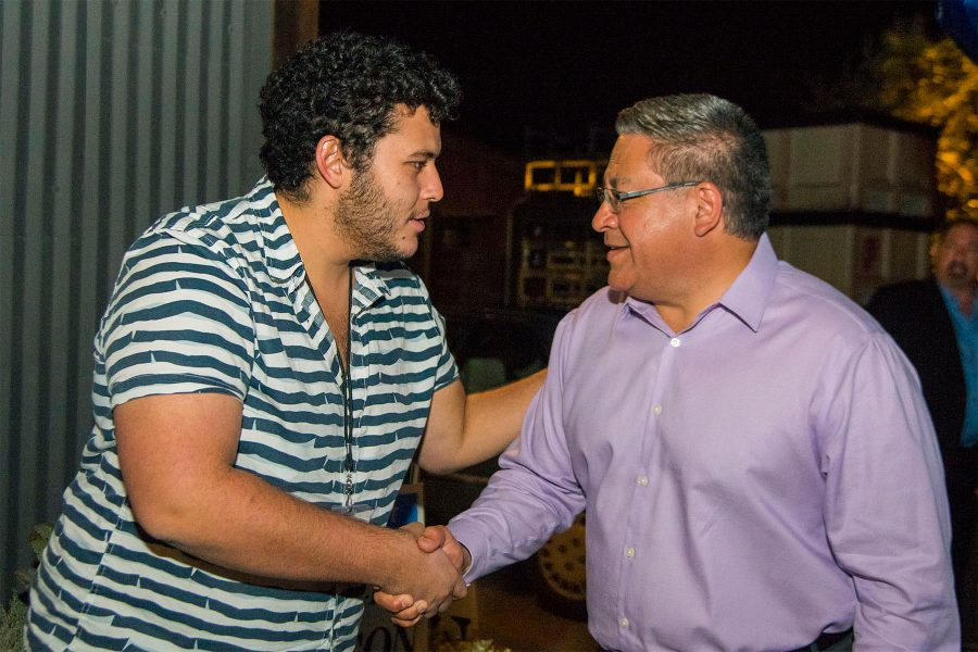 The Channels sports editor Othman Mechkor greets newly elected Congressman Salud Carbajal during the Democrat election party on Tuesday, Nov. 8, at The Mill in Santa Barbara. Channels staff covered all the election parties in the Santa Barbara area.
