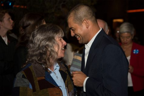 Assembly member Das Williams talks with supporters about the many local election wins for democrats to discuss the future for the county and the country on Tuesday, Nov. 8, at The Mill in Santa Barbara. Williams is a strong propionate for measures E and F.