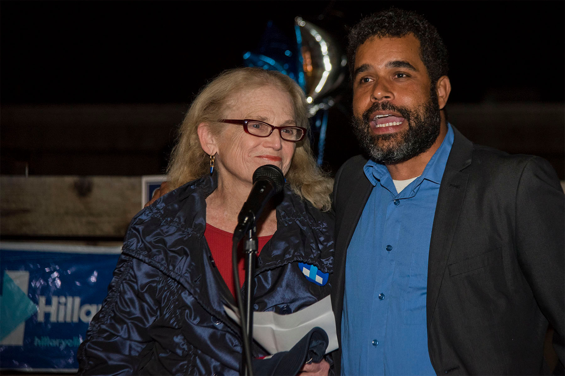 Susan Rose and Daraka Larimore-Hall talk about the future of the Democrat party in Santa Barbara after learning of Donald Trump winning the presidency on Tuesday, Nov. 8, at The Mill in Santa Barbara. Democrats won all the major local elections.