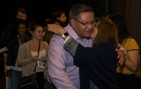 Salud Carbajal is congratulated by supporters as he enters the Democrat election party on Tuesday, Nov. 8, at The Mill in Santa Barbara. Despite the loss at the position of President, the local democrats are still hopeful for the future.