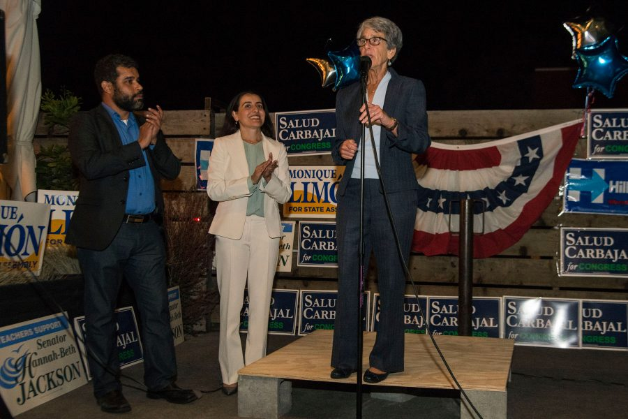Senator Hannah Beth Jackson speaks to supporters at the Democrat election party on Tuesday, Nov. 8, at The Mill in Santa Barbara. Jackson is being reelected to her position as United States Senator for Calif.