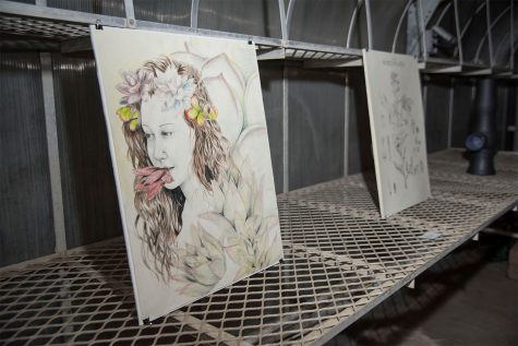 The unnamed art piece by Emily Corb is one of the many works on display on Tuesday, Nov. 29, City College East Campus green house. The student art exhibition was called Garden Observations and had various student art works on display.
