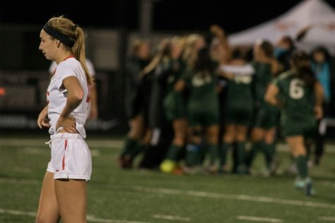 Vaquero freshman Katherine Sheehy (No. 4) walks back to the bench after losing to the Vikings on Friday, Dec. 2, 2016 at Ventura College during the state soccer playoffs. City College women's soccer ends its best season ever with a record of 16-7-1 and finish third in the state.