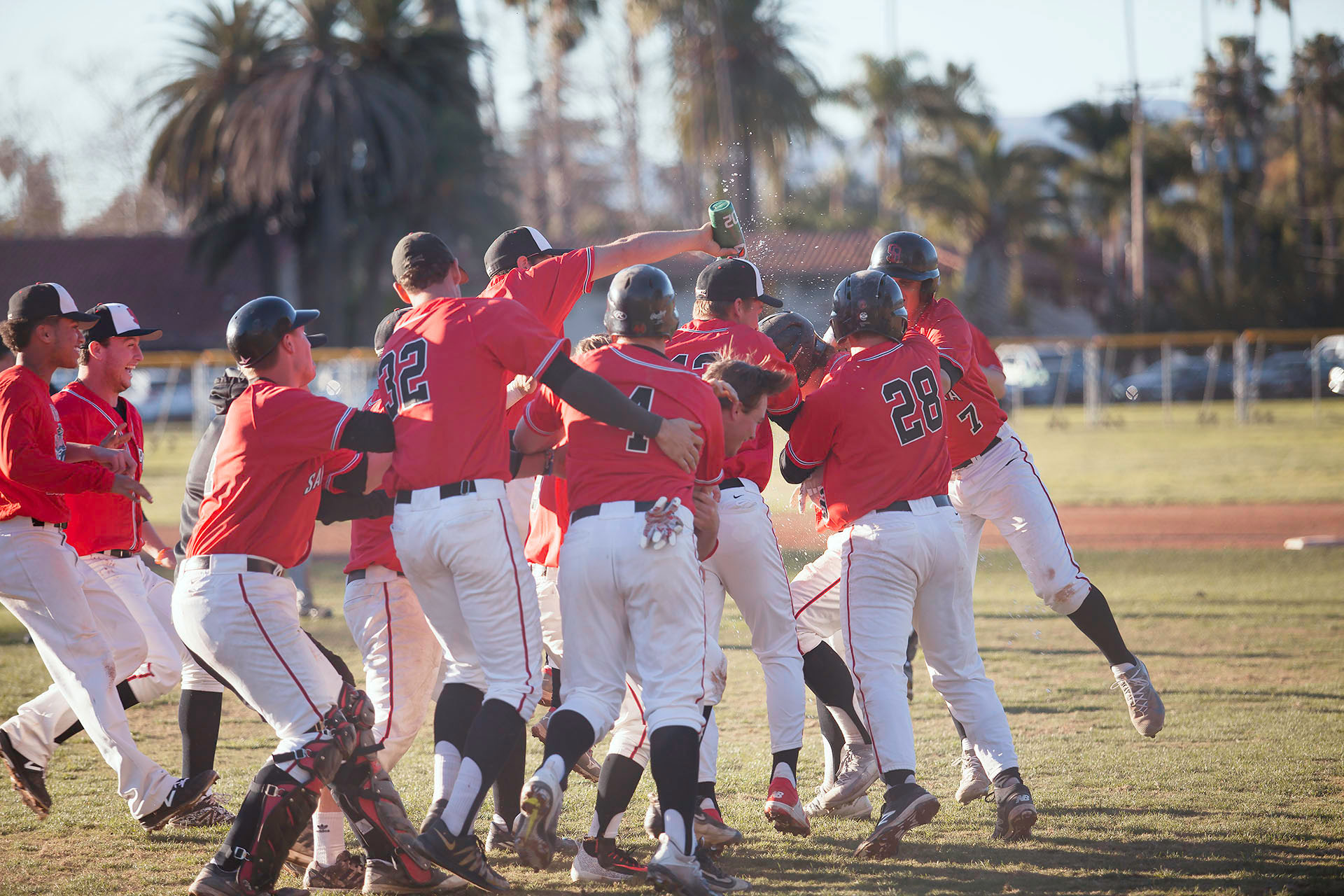 The City College Vaqueros celebrate their victory against the Cerritos College Falcons on Saturday, Jan. 28, at Pershing Park. The Vaqueros beat the Falcons, 3-2.