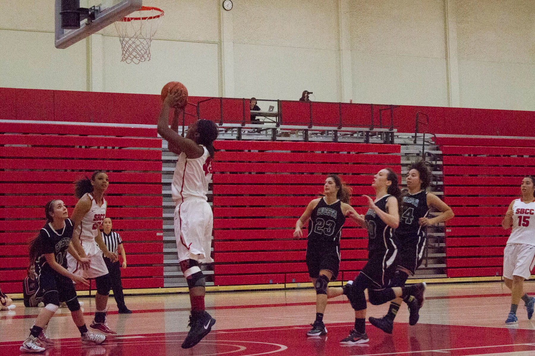 City College Vaquero Jada Clark (No. 44) tries to get her team back in the lead during the second quarter against the Cuesta City College Cougars held on Saturday, Feb. 4, 2017, in the Sports Pavilion. The Vaqueros took the win with a final score of 82 to 73.