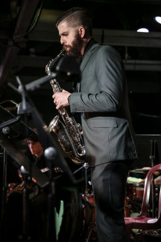City College student Brandon Boyd plays a solo saxophone number with the City College Good Times Big Band on Feb. 13, 2017 at SOhO Restaurant and Music Club in Santa Barbara, Calif.