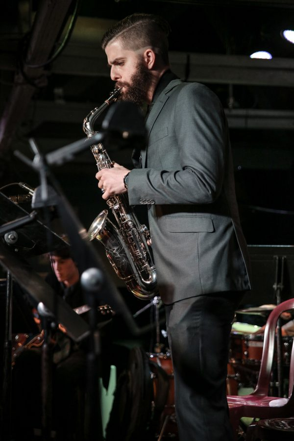 City College Student Brandon Boyd plays a solo saxophone number with the City College Good Times Big Band on Monday, Feb. 13, 2017, at the Soho restaurant and music club in Santa Barbara.