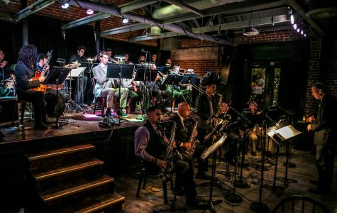 The City College Good Times Big Band plays in front of a crowded room on Monday, Feb. 13, 2017, at the Soho restaurant and music club in Santa Barbara.