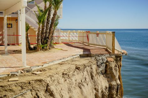 The Balcony of 6653 Del Playa Drive collapsed into the ocean on Sunday, Jan. 22, 2017 in Isla Vista. Residents were only given 25 minutes to evacuate the building.