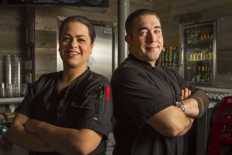 Lead Cook Marika Millner and Gabriel Ibarra, head chef and kitchen manager at Mesa Burger, are alumni of the City College culinary arts program on Monday, Jan. 30, 2017 at Mesa Burger in Santa Barbara. Ibarra tries to hire people from the program, 'I look at them as my brothers and sisters,' said Ibarra 'I have a soft spot in my heart for the culinary program.'