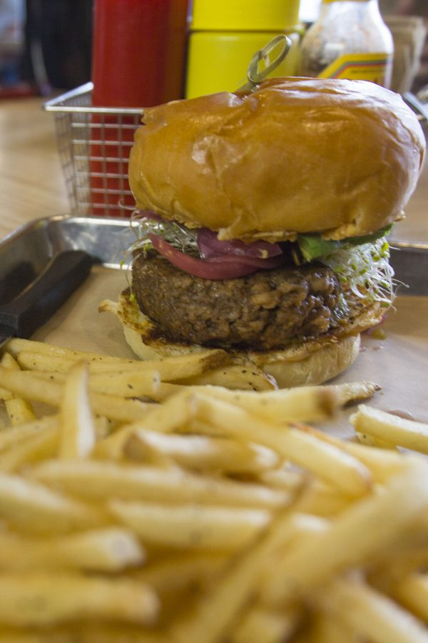 A Shoreline burger from Mesa Burger on Friday, Feb. 3, 2017, at Mesa Burger in Santa Barbara. A Shoreline Burger has a veggie patty, red pepper hummus, pickled red onions, sprouts and salsa verde. It costs $12.