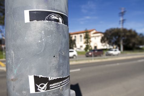A poster from the American Vanguard that was ripped down on Friday, Feb. 24, on Cliff Drive in front of City College. The American Vanguard is a white supremacist organization.