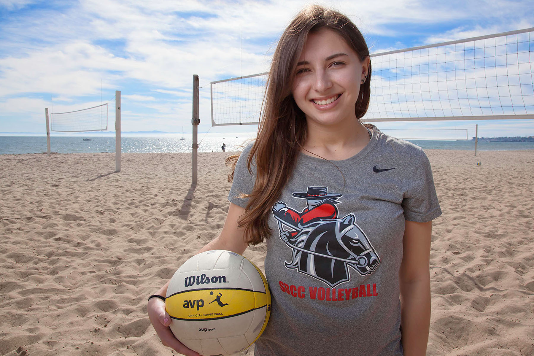 Freshman Claire Bagdasar, the starting libero for the City College women's volleyball team, on Feb. 15, at Santa Barbara East Beach. Bagdasar has been playing volleyball since she was young and dedicates most of her time to it.