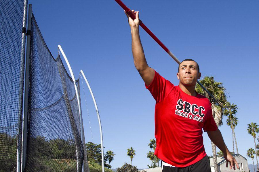 Sophomore Thrower Eddie Jones throws a javelin on Wednesday, March 15, at La Playa Stadium. Though Jones is best at shot put, he prefers the javelin.
