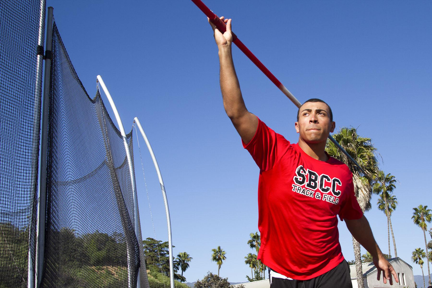 Sophomore Thrower Eddie Jones throws a javelin on Wednesday, March 15, at La Playa Stadium. Though Jones is best at shot put, he prefers the javelin.