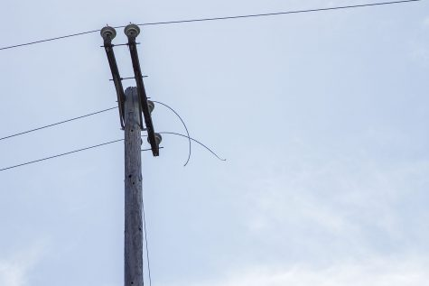 The power line that snapped that caused City College to lose power on Wednesday, March 22, on Loma Alta Drive. Classes and events will be canceled for the rest of the day.