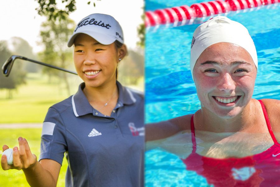 Photo Illustration of Golfer Carolin Chang and Swimmer Addison Seale.