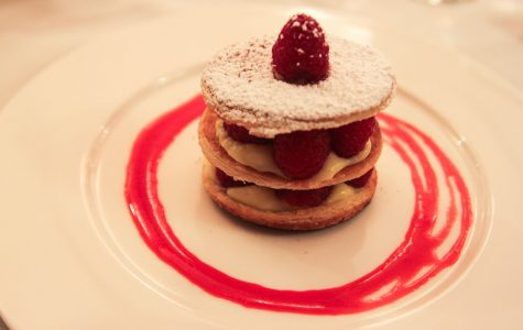 A raspberry mille feuille with vanilla cream and strawberries, served with raspberry coulis sauce on Thursday, Feb. 23, in the John Dunn Gourmet Dining Room at City College.