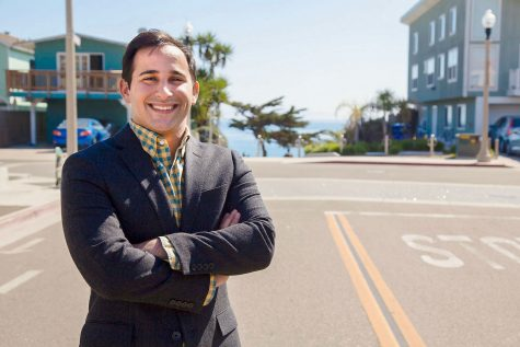Jonathan Abboud, vice president of the Board of Trustees, on Thursday, March 16, in one of his favorite places in Isla Vista, at the corner of El Embarcadero Rd and Del Playa Road in Isla Vista. Abboud went to the Community College National Legislative Summit to advocate for City College.