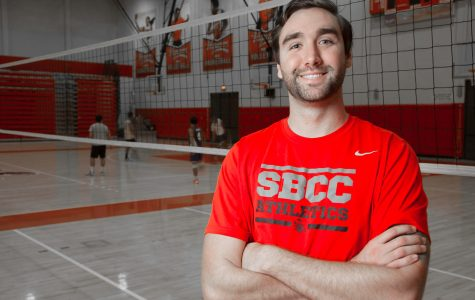 Jon Newton, new head coach for the men's volleyball team, on Feb. 28, in the Sports Pavilion. Newton attended City College for two years and played for the volleyball team before transferring.