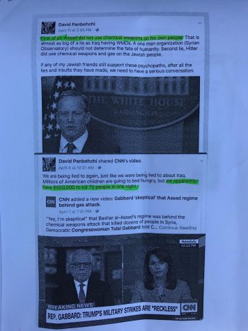 "David Panbehchi's facebook posts printed out by Parker Mitchell whose friends passed copies around at the ""We The Students Candidates Debate"" on Thursday, April 20, in Physical Science Building Room 101."