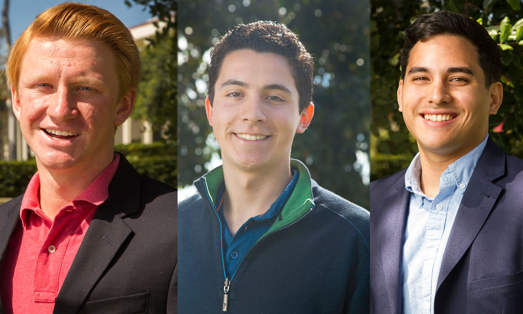 The Channels endorses these candidates from Left, Student Trustee Candidate Parker Mitchell, Presidential Candidate Cristian Walk, and Matthew Esguerra, running for vice president of external affairs.