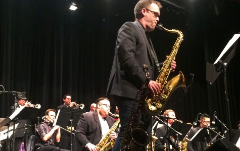 "Kevin Garren, grammy winning saxophonist and City College alumnus, performs the song ""Bopularity"" by Matt Catingub during the Legends of Jazz concert on Friday, April 7, at the Garvin Theatre. Garren Played with all three City College Jazz Bands."