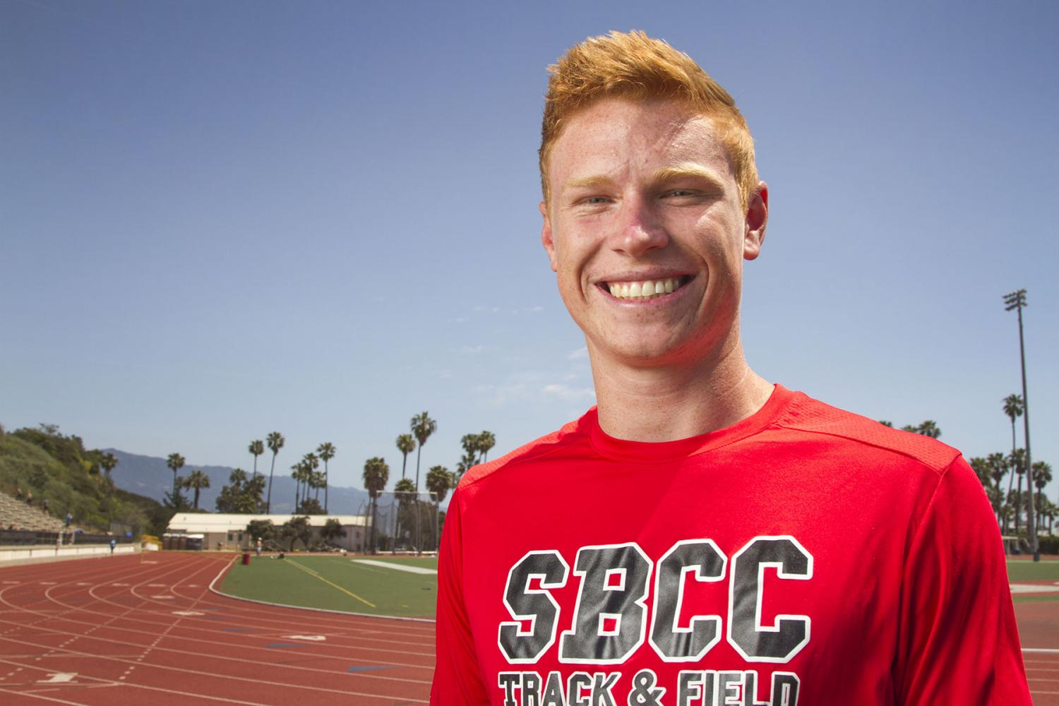 Pole Vaulter Chris Aichinger, on Sunday, April 15, at La Playa Stadium at City College. Aichinger broke the pole vaulting school record on Friday, March 31, in the Western State Conference Coastal Meet.
