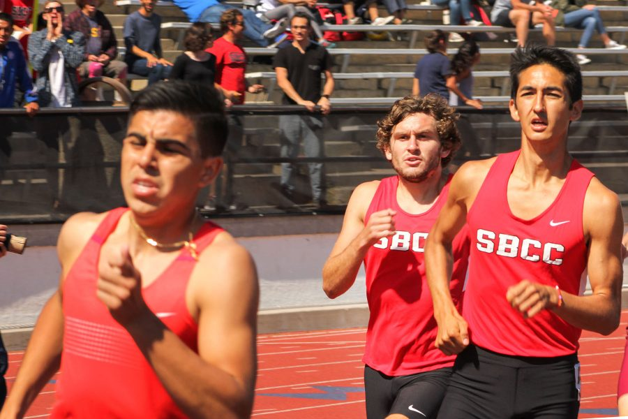 From left, Vaqueros Alex Ramirez and Jacob Ogawa run the 800 meter at the City College Easter Open track meet on Friday, April 14, at La Playa Stadium. Ramirez came in second place with a time of two minutes.