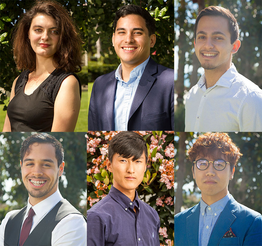 Associated Student Government election winners. Top from left, President-Elect Charlotte Donnay Rochard, Matthew Esguerra, elected as vice president of external affairs, and elected Student Trustee David Panbehchi. Bottom from left, Josh Villanueva, elected as vice president of internal affairs, elected Student Advocate Christopher Lee, and Yeihoon Choi, Vice president of operations and finance.