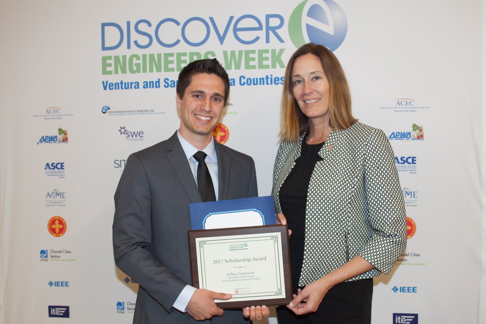 Courtesy art of Student Jeffrey Sorenson receiving the National Engineers Week of Ventura & Santa Barbara Counties Scholarship from California District 44 State Assembly Representative, Jacqui Irwin.