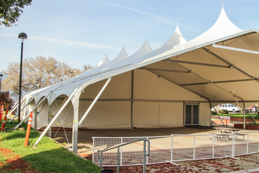 The tent on Wednesday, April 6, 2017, next to the Student Services Building on East Campus at Santa Barbara (Calif.) City College. Construction on the tent was completed last year, and the College Paid $240,000 to build it.