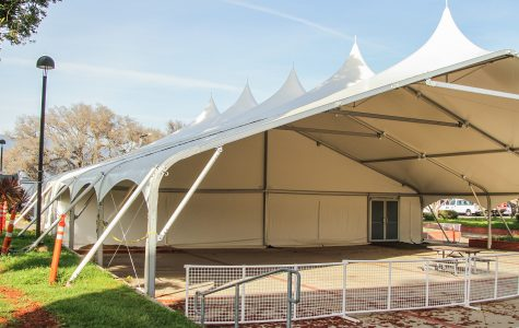 The tent on Wednesday, April 6, next to the Student Services Building on East Campus at City College. Construction on the tent was completed last year, and the College Paid $240,000 to build it.