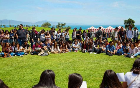 "High school students and City College volunteers sit together listening to students life stories and a music performance at the ""High School Equity and Leadership Conference"" on Friday, April 28, on West Campus. Students were from the local high schools, Dos Pueblos, San Marcos, Carpinteria, and Santa Barbara high school."