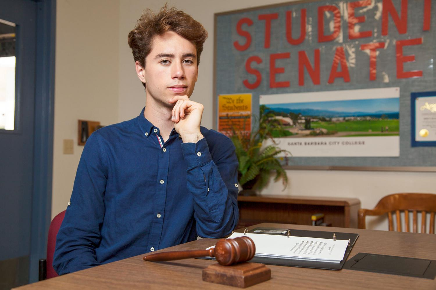 Student+Senate+President+Dylan+Raiman+on+Friday%2C+April+28%2C++in+the+Campus+Center+Room+223+at+City+College.+Raiman+will+be+attending+the+University+of+California+Berkeley+in+the+fall.