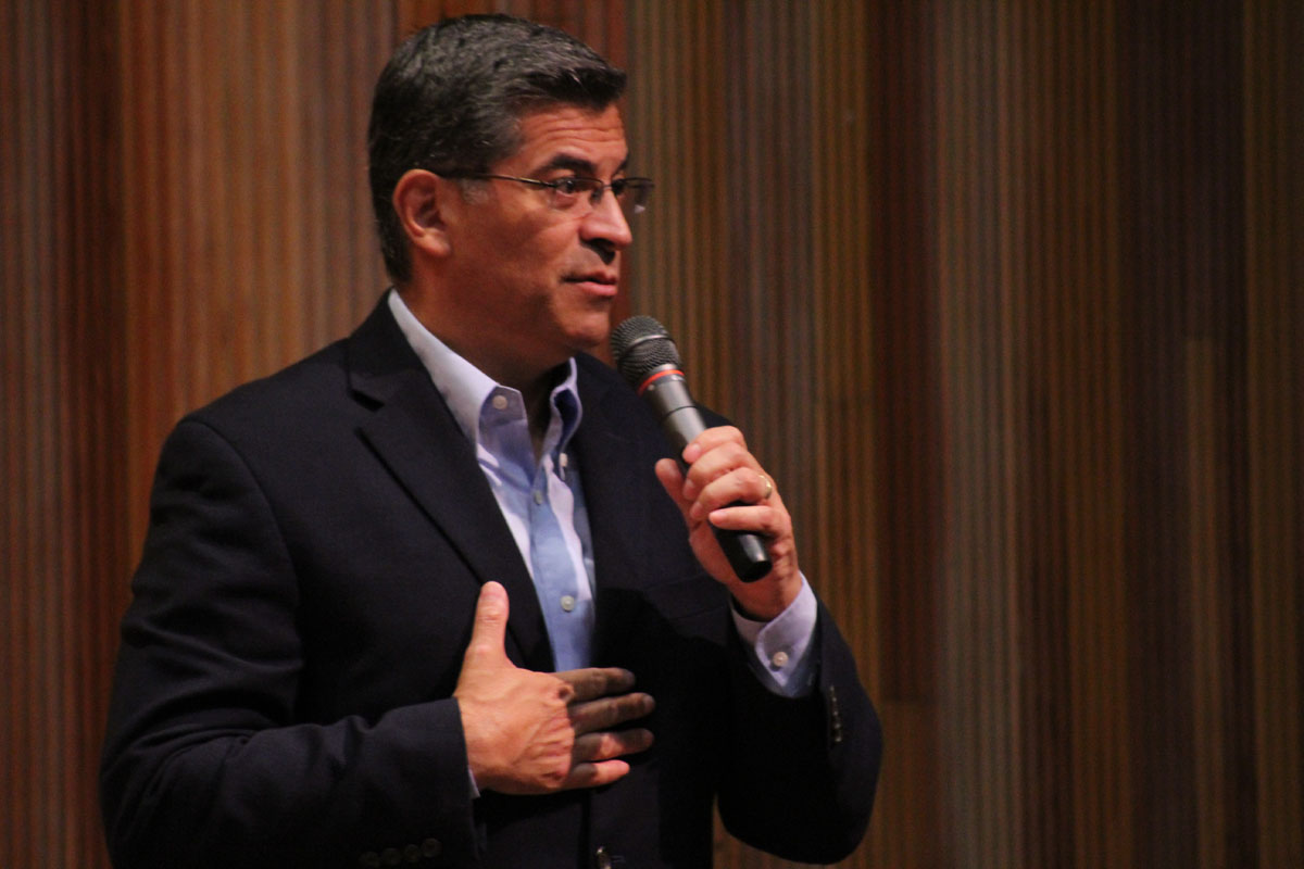 "California Attorney General at ""A Conversation with Attorney General Xavier Becerra"" event hosted by Congressman Salud Carbajal, Assemblymember Monique Limon and State Senator Hannah Beth Jackson 1:30 p.m. in the Fe Bland Forum at Santa Barbara (Calif.) City College Saturday, Aug. 26, 2017. Becerra was assuring the audience that he has their backs while speaking about the health care system."