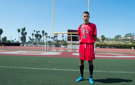 """City College forward Victor Chavez stands on La Playa Stadium Sept. 15 at Santa Barbara City College. When asked what motivates him to do his best in every game, Chavez replied, """"My family. My dad would always tell me before a game, 'it's just 2 hours of working your ass off and then you get the rest of the day off.'"""""""